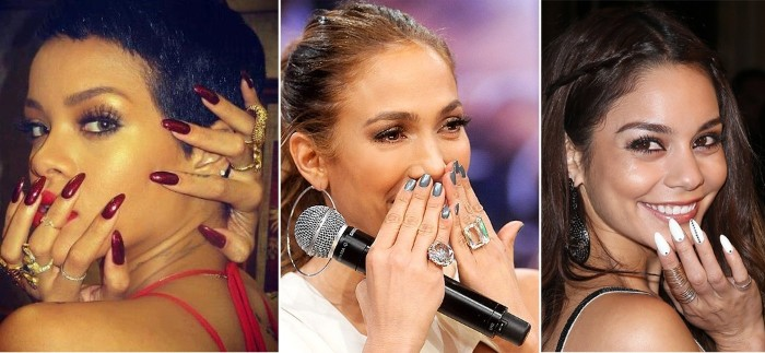 celebrities with long and short stiletto nails, rhianna with long red manicure, j lo with short silver nails