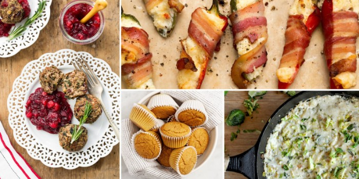 salty muffins and bacon jalapeno poppers, meatballs with cranberry jam, and other appetizers