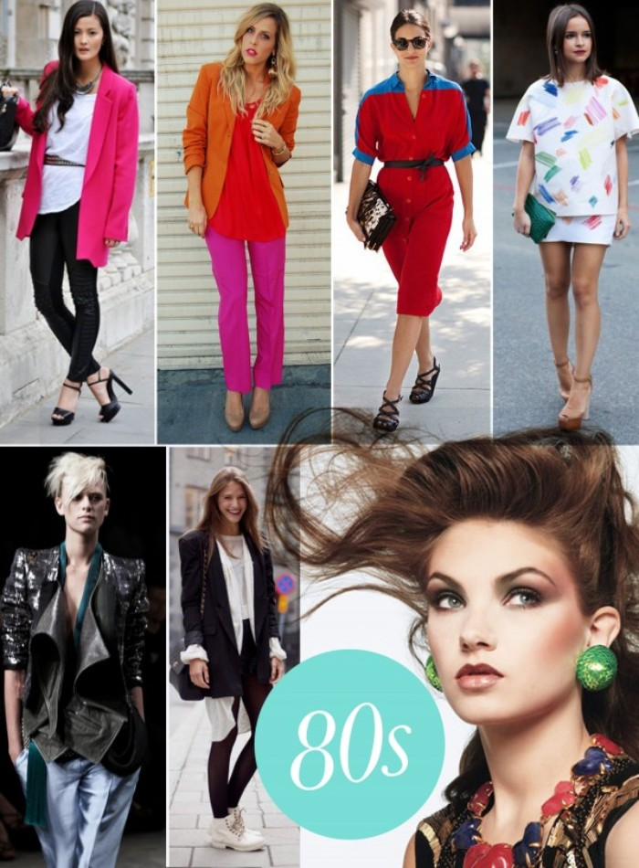 collage showing seven women, dressed in outfits, inspired by the 80s, bright neon colors, oversized garments and playful patterns, large jewelry pieces
