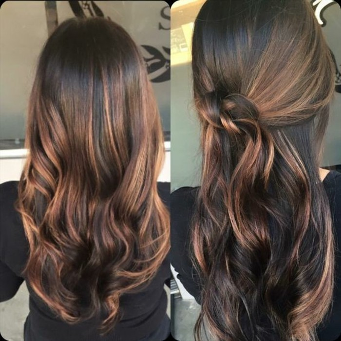mocha colored balayage hair, with dark roots and caramel highlights, seen in two styles, one wavy and one featuring a knot-like detail