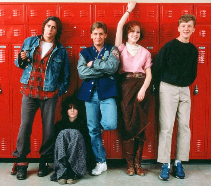 cast of the breakfast club, dressed in plaid shirts and jeans, denim and baseball jackets, long skirts and trainers, 80s costumes men and women