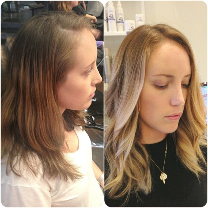brown hair with blonde highlights, before and after photos, slim young girl with light brunette hair, next image shows her wearing wavy balayage do