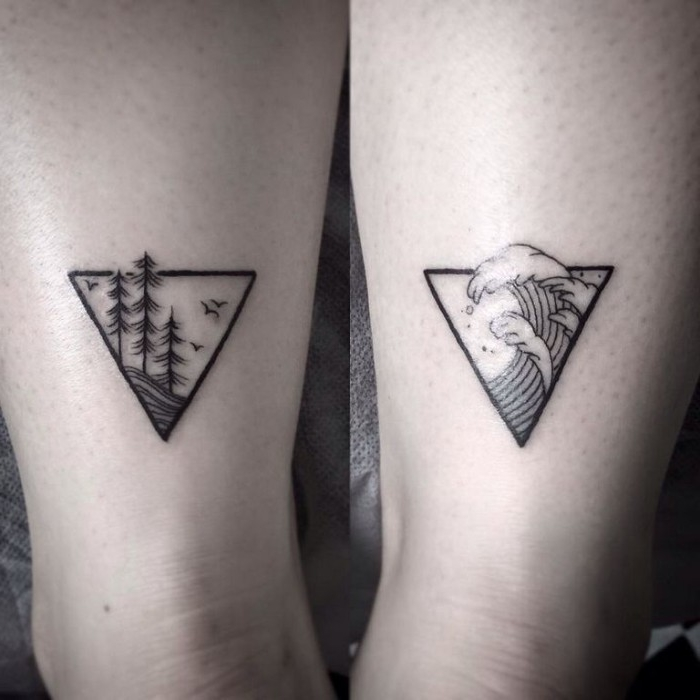 waves and a forest with trees, done with black ink, inside two triangular shapes, minimalistic matching tattoos, for couples or friends