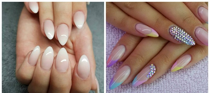 ombre effect french manicure on pointy nails, and a long, multicolored almond-shaped manicure, decorated with rhinestones