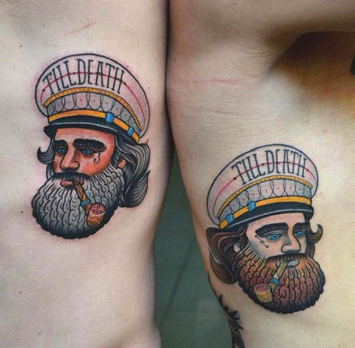 captains with beards and pipes, wearing hats saying till death, sailor-style vintage tattoos, matching bestfriend tattoos
