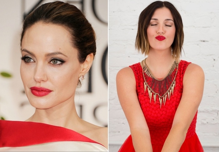 two images side by side, one showing a close up of angelina jolie, with red lipstick, and black eyeliner and mascara, holiday makeup 2017, the other image shows a young woman, with chin length hair, wearing a red dress, and red lipstick