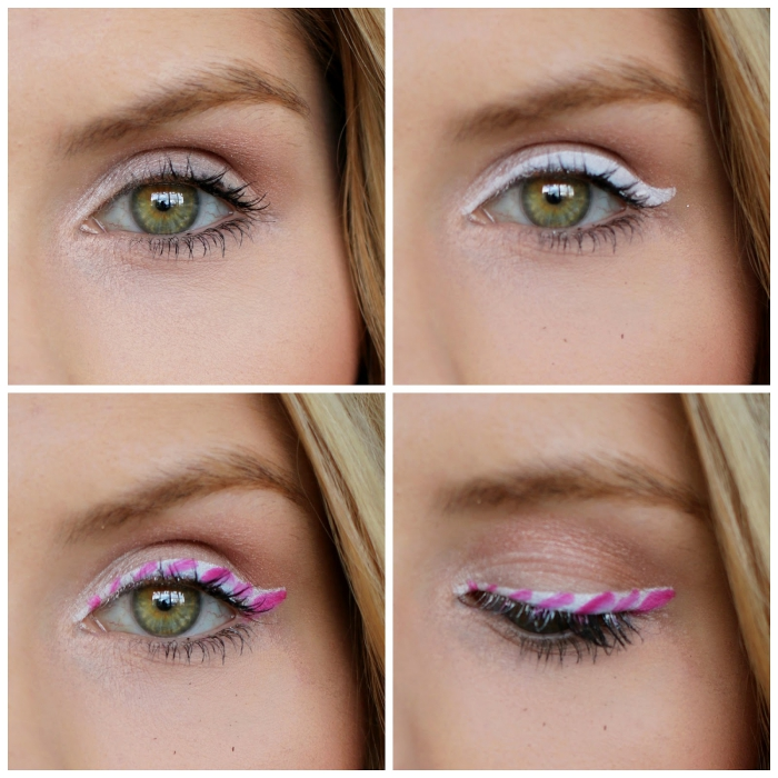 christmas makeup looks, how to create peppermint candy eyeliner, explained in four photos, applying white pencil, and adding pink stripes