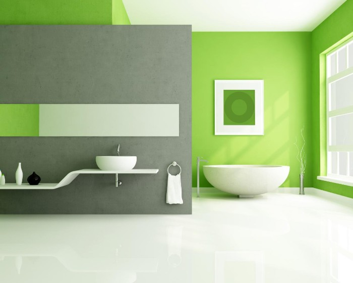 minimalistic spacious bathroom, with light green and medium grey walls, best bathroom paint colors, smooth white floor, and a bowl-like bathtub, best bathroom paint colors, modern sink and shelf, a large window