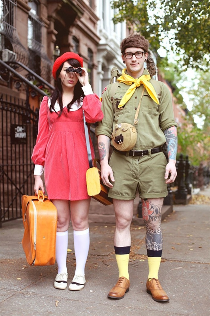 costumes inspired by wes anderson's moonrise kingdom, khaki green guide uniform, worn with a yellow necktie, coral red mini dress, with knee socks and a red baret, dynamic duo ideas, sam and suzy