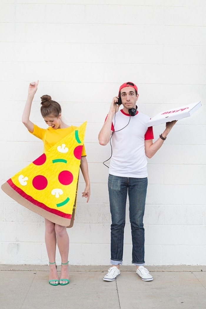 couples halloween costumes, man dressed as a pizza delivery guy, and a woman, dressed like a slice of pizza
