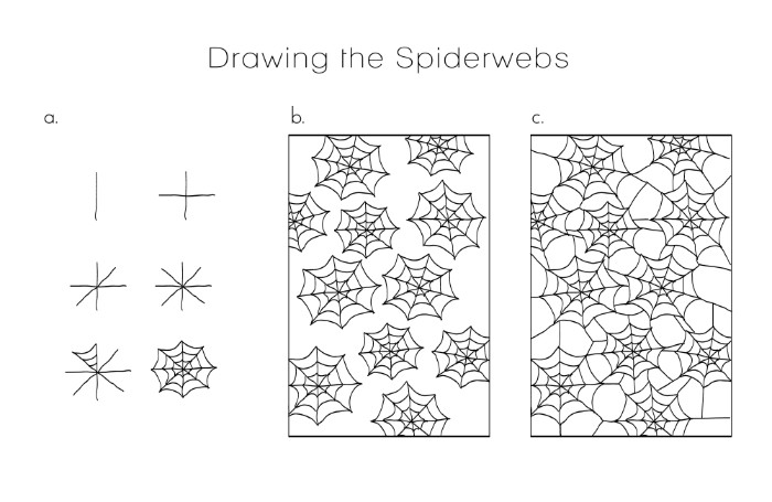 how to draw a cobweb pattern, for a tablecloth, halloween decorations, three drawings showing the step by step process