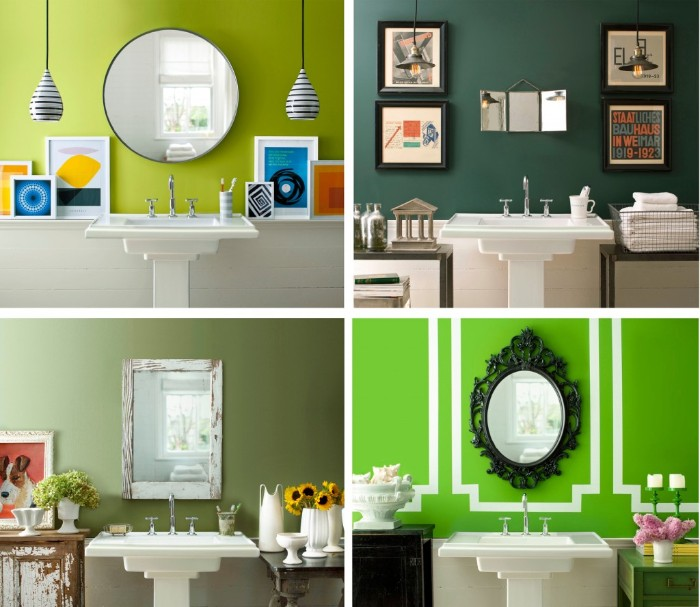 four images of bathroom walls, painted in different shades of green, lime and pine green, sage and grass green, best bathroom paint colors