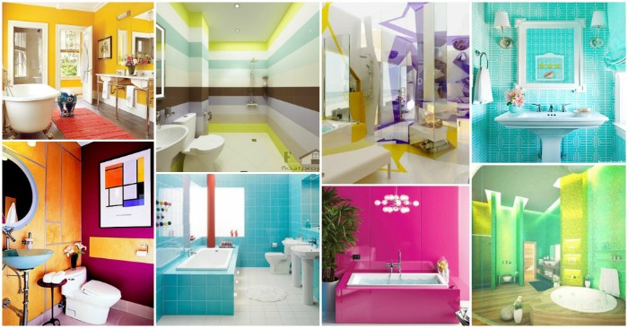 picture collage with eight colorful images, showing ideas for big, and small bathroom paint colors, turquoise and white, different shades of green, fuchsia and teal, and others