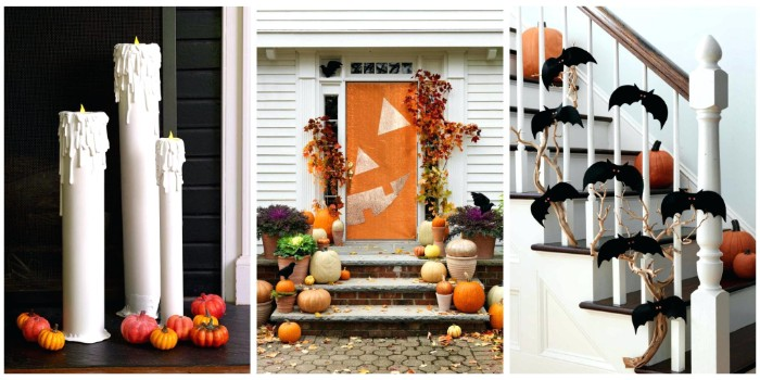 collage with three images, showing examples of haunted house decorations, three white candles, decorated with tiny pumpkins, a front door, painted to look like a jack-o-lantern, a staircase decorated with pumpkins, and a dried branch with small, black bat shapes