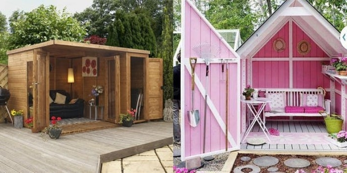bubblegum pink shed, with open doors, revealing a bench with cushions, and various tools inside, she shed images, next image shows a small, simple wooden shed