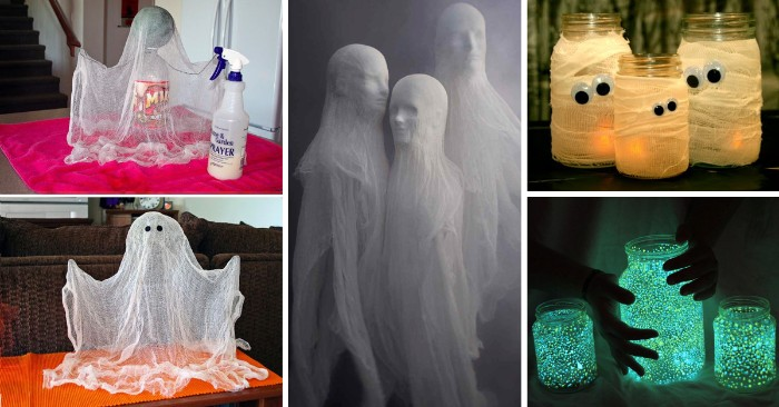 scary halloween decorations ideas, ghost made from gauze, a plastc bottle and glue, mummy candle holders, glow-in-the-dark mason jars, ghosts made from mannequins' heads, and white see through fabric