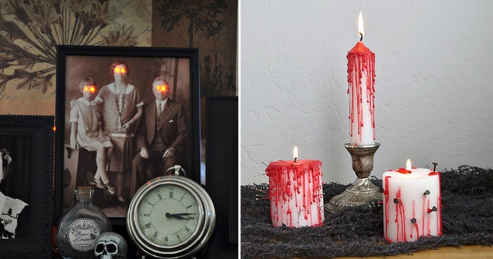 antique black and white photo, of a family with glowing eyes, scary halloween decorations, next image shows three candles, painted with blood-like red paint, and stabbed with nails