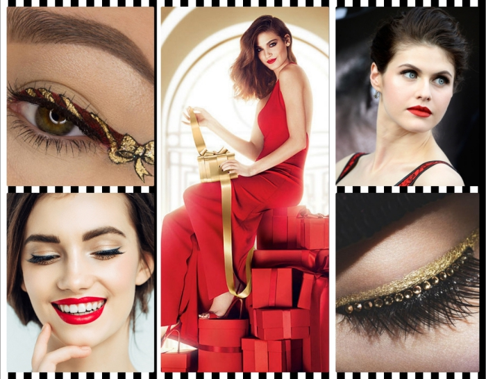 collage with five images, showing christmas makeup and outfits, present-inspired eyeliner, red lipstick and a red gown, faux lashes with rhinestones