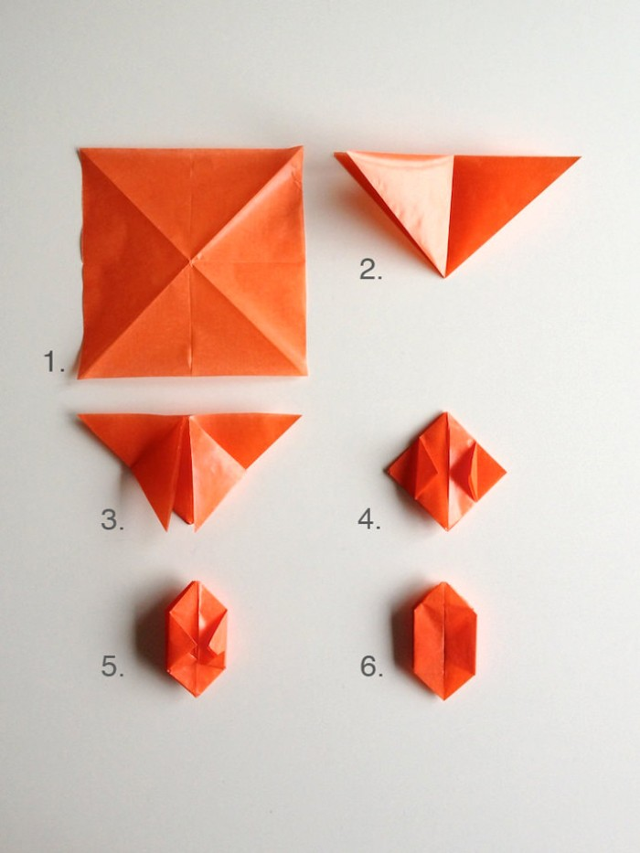 tutorial with photos, explaining how to make a pumpkin origami, glossy orange paper, folded in six steps