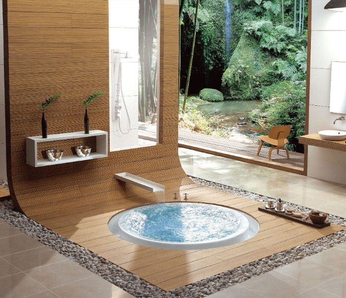 round bath surrounded by a wooden surface, master bathroom ideas, beige tiled floor, and large window overlooking a garden