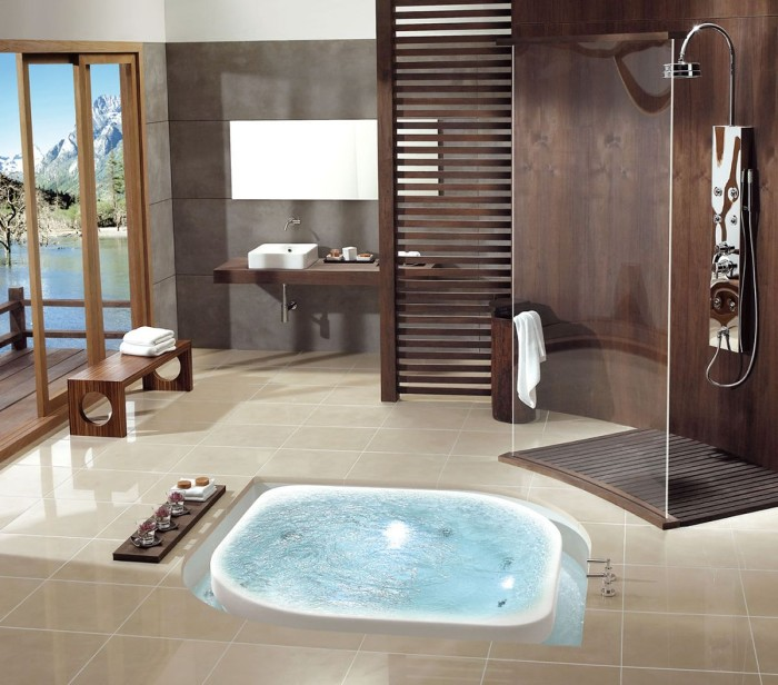 chocolate brown walls, inside a room, with pale beige tiled floor, containing an inbuilt hot tub, master bath remodel, terrace with a lake view