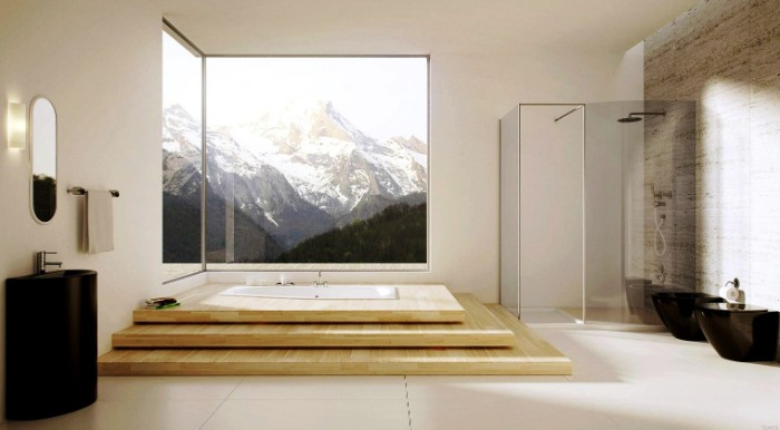 elevated bathtub with three wooden steps, inside a spacious room, with a large window, and a glass shower cabin, snowy mountain view, bathroom picture ideas