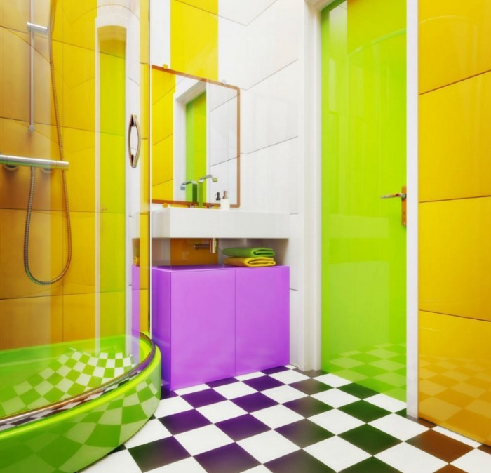 yellow and white paneled wall, in a bathroom with a tiled, black and white floor, best bathroom paint colors, lime green door, a shower cabin, and a purple cupboard