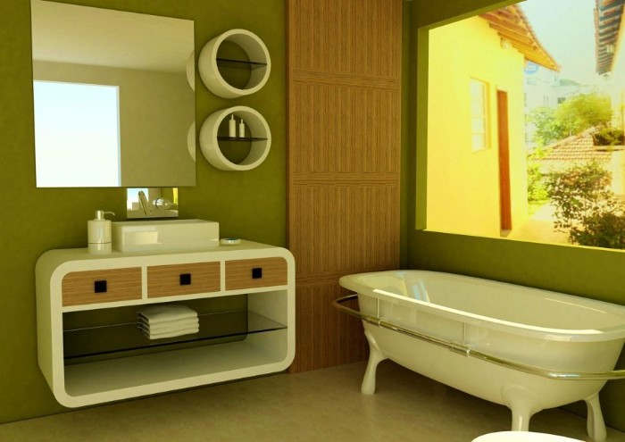 square large window, in a bathroom with olive green walls, containing a modern white cupboard, with oval edges, and a bathtub
