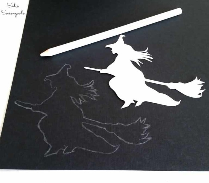 tracing the shape of a witch on a broomstick, on a sheet of black card, using a stencil and a white pencil, halloween witch decorations, easy diy ideas