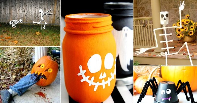funny halloween diy ideas, skeleton man chased by a skeleton dog, mason jar painted like a skeleton pumpkin, spider made from pipe cleaners and a pot, and two other ideas