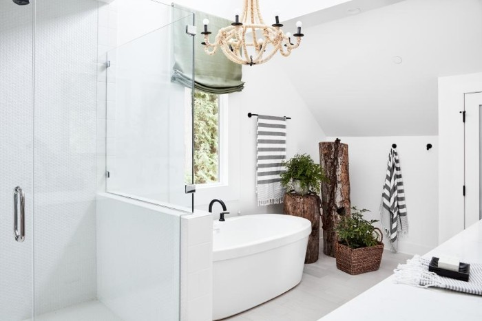 three indoor plants, inside rustic wooden pots, decorating a white room, with a bathtub, and a shower cabin, spa like bathrooms