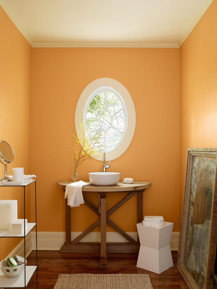 pastel orange room, with an oval window, a white ceiling, and a dark brown wooden floor, bathroom color schemes, modern sink on a wooden stand