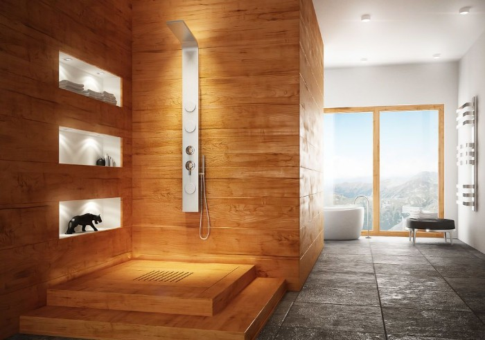 natural stone tiles, on the floor of a bright room, with large windows, bathroom picture ideas, open plan shower area, covered in light brown wood