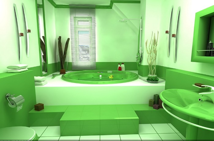 digital painting of a bathroom, decorated with two shades of green, a round elevated bathtub, a sink and a toilet, decorative plants and a narrow window with blinds