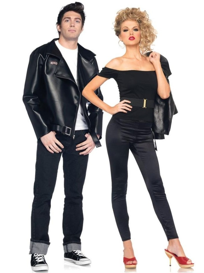 idea for duo halloween costumes, inspired by the flm grease, woman in black leggings, red heels and a black off the shoulder top, near a man with a black leather jacket