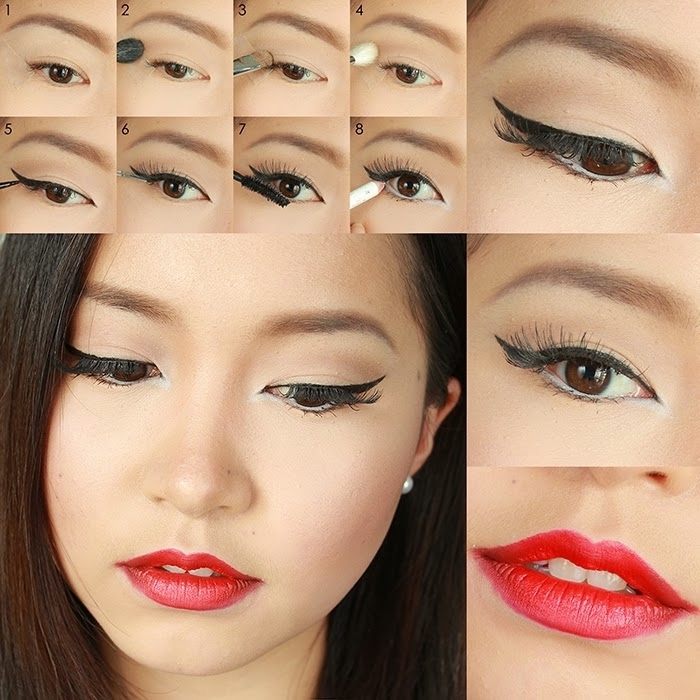 eye makeup for red lips, sterp by step photo tutorial, explaining how to apply black eyeliner, young asian woman, with black eyeliner, and red lipstick
