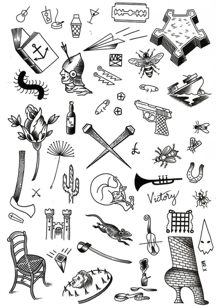 selection of small meaningful tattoos, drawn in black, on a white template sheet, open book and cocktails, flowers and insects, and many others