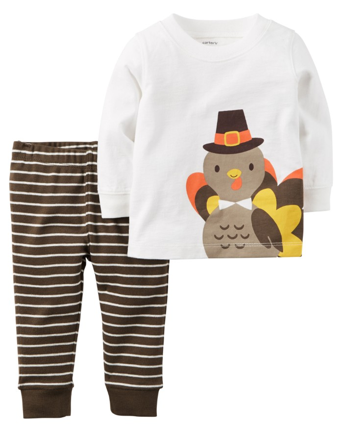 cartoon turkey printed on a white, long-sleeved top, baby thanksgiving outfits, striped trousers in dark brown and white