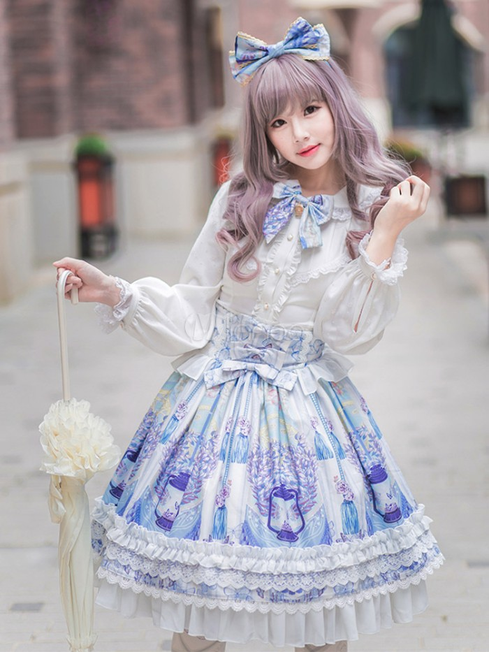 grey wig with bangs, worn by a pale slim girl, dressed in a blue and white frilly skirt, and a white blouse with flounces, lolita style outfit, cream frilly parasol