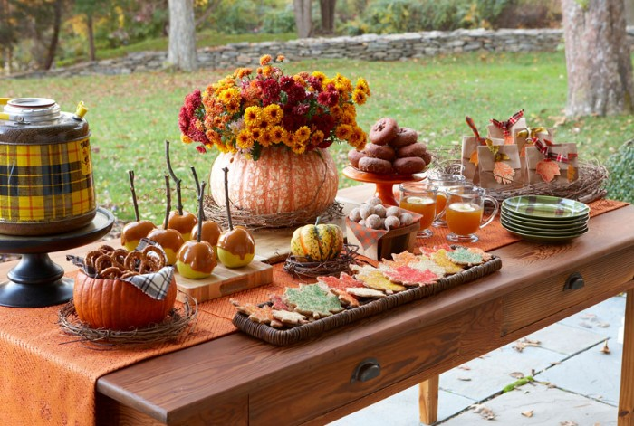 snack table with candied apples, donuts and pretzels, cookies and juice, placed near a lawn, thanksgiving tablescape, pumpkin filled with orange and red flowers