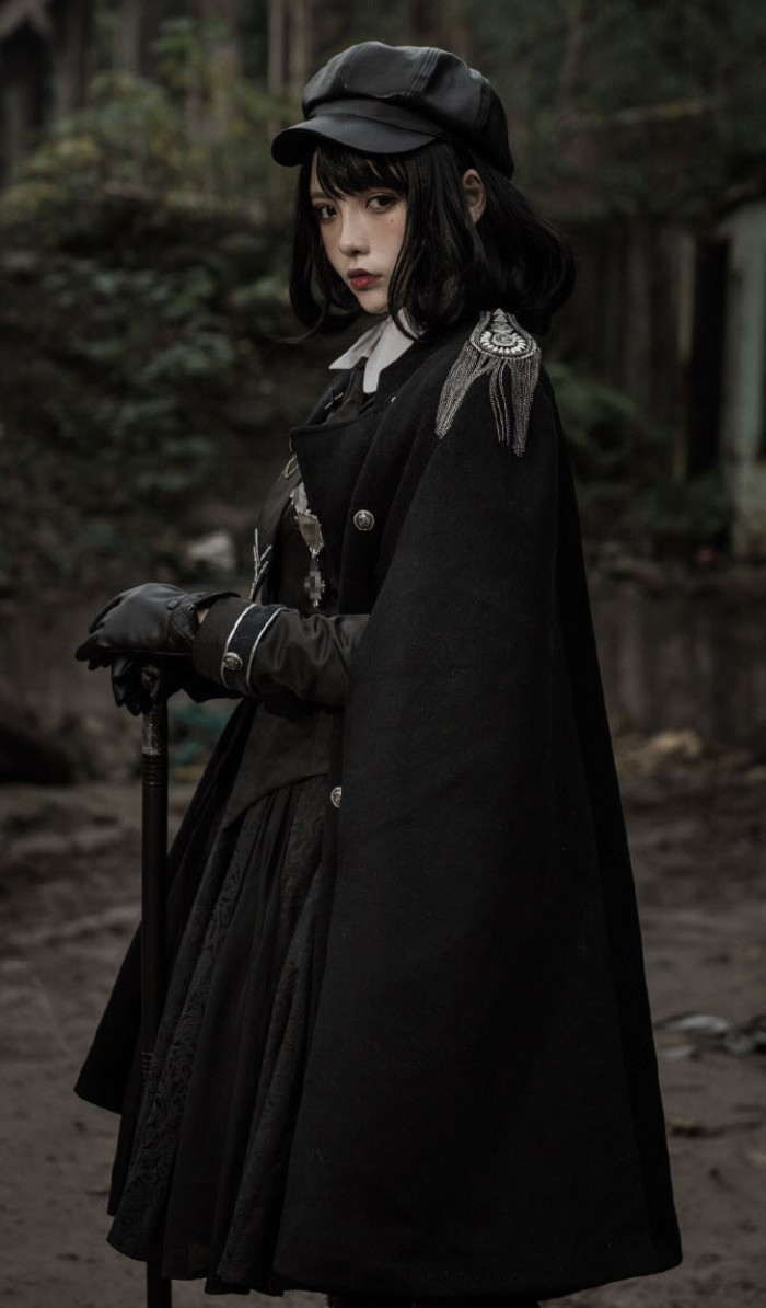 black-haired girl, wearing a gothic lolita dress, a long cape with epaulettes, black leather gloves, and a black leather cap