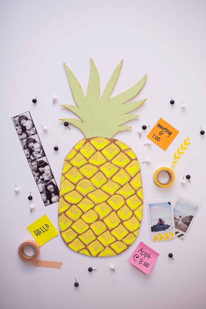 washi tape and pins, photos and post it notes, placed near a yellow, and pale green bulletin board, diys for your room, pineapple wall decoration