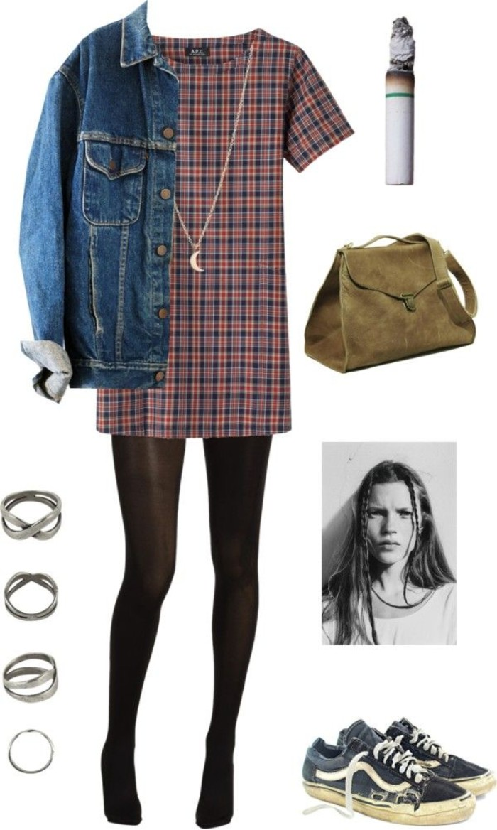 mini dress with short sleeves, featuring a red and dark blue plaid pattern, baggy blue denim jacket, black tights and a beige suede bag, grunge definition, dark blue and white retro sneakers, and various accessories
