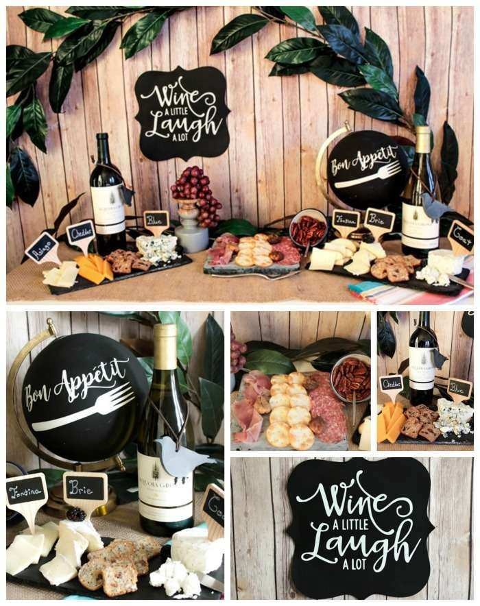 creating your own wine tasting party, 50th birthday ideas, five images showing a table, with wine and grapes, cheese and salami platters, and various decorations