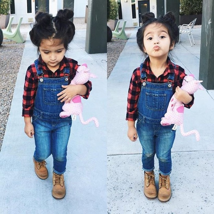 two images of a small girl, dressed in blue denim overalls, and a plaid black and red shirt, toddler thanksgiving outfit, with beige lace up shoes