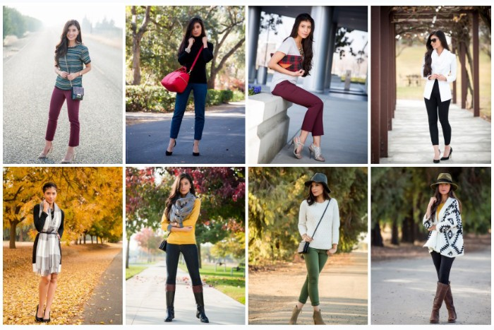 examples of thanksgiving outfits for women, eight different styles, burgundy ankle trousers, skinny jeans with a jumper and a scarf, and many more