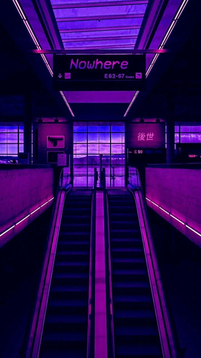 nowhere written on a black shield, hanging over a pair of escalators, in an empty mall-like space, illuminated by pink neon light, 80s grunge