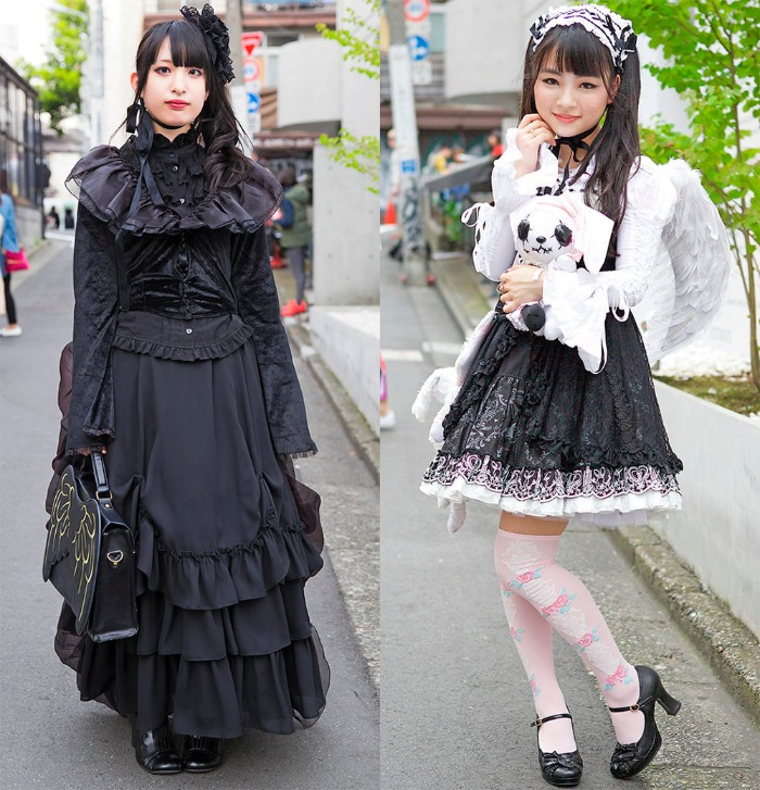 side by side comparison, of two japanese lolita styles, kuro lolita dressed in all black, and gothic lolita in a black and white mini dress, with patterned pink over-the-knee socks