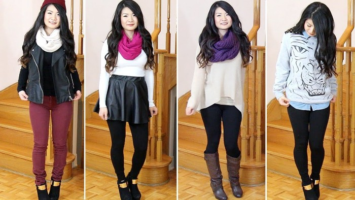 four images of the same woman, dressed in different outfits, purple skinny trousers, and a black leather biker jacket, black tights and a mini skirt, leggins and jumpers