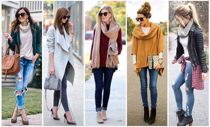 women dressed in cute thanksgiving outfits, ripped jeans and light sweaters, scarves and skinny jeans, and other examples